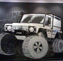mural tienda grip 4x4. Um projeto de Design, Ilustração e Instalações de enrique granados de foronda         - 21.07.2011