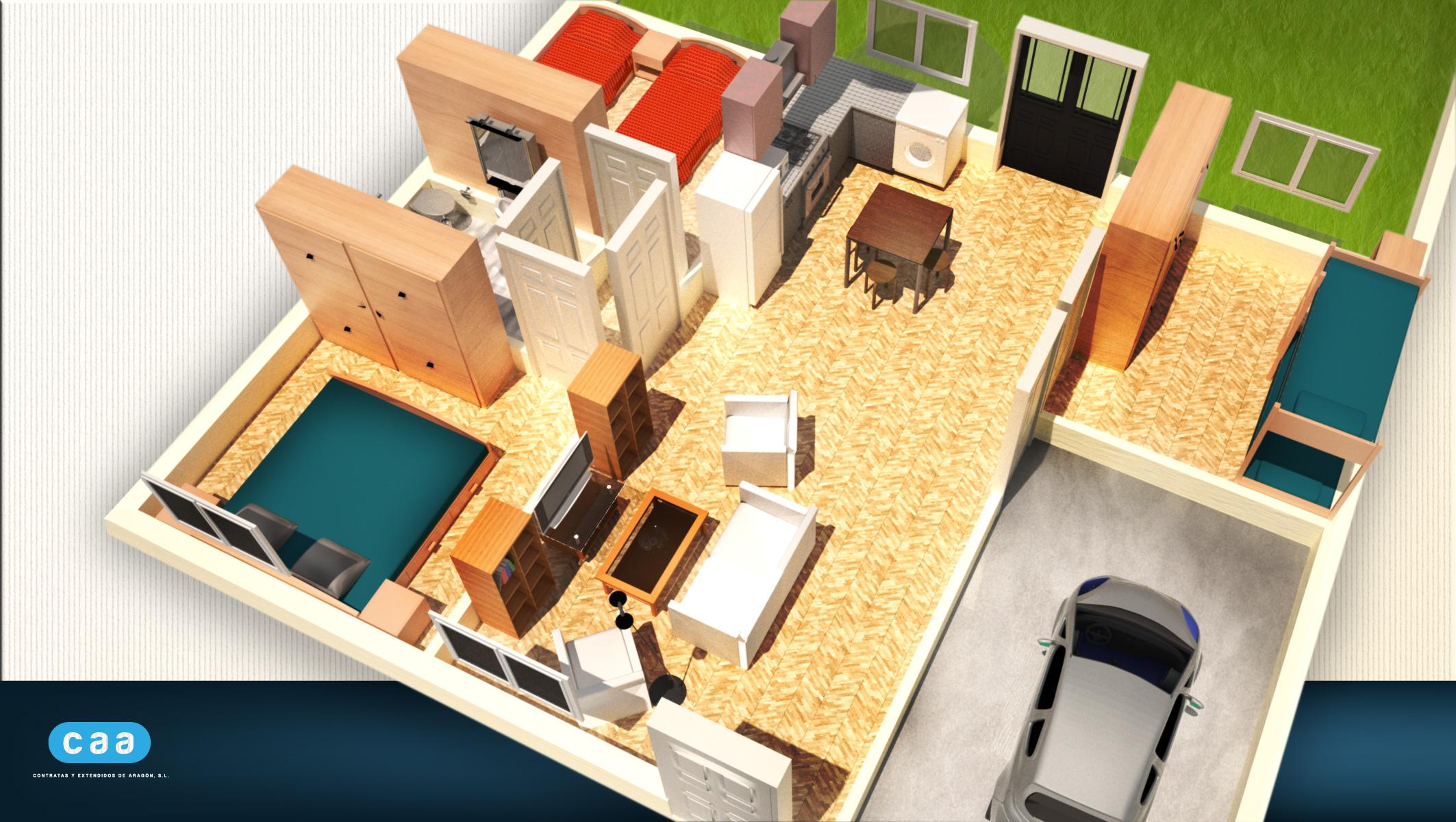 3d casas planos domestika for Plano de casa 3d