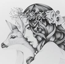 Deer Woman Illustration Kata Zapata. Un proyecto de Diseño e Ilustración de Kata Zapata - Lunes, 17 de diciembre de 2012 00:16:53 +0100