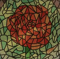 """Vidriera """"La Bella y la Bestia"""". Un proyecto de Diseño e Ilustración de Isi Cano - 23-02-2014"""