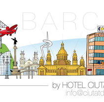 Skyline Barcelona para Hotel Ciutat de Sant Adrià. A Illustration project by Dues Creatius          - 17.03.2014