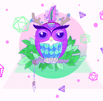 Búho Hippie. A Illustration, Animation, Character Design, Graphic Design, and Painting project by Trixie V - 05-05-2014