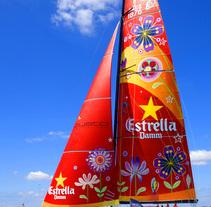 Velero para Estrella Damm y Custo Barcelona. A Design, Illustration, Art Direction, Fine Art, Graphic Design, Marketing, and Product Design project by Coral Hernández Finol - 05-05-2014