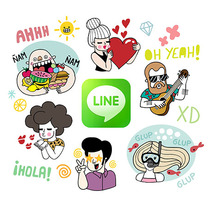LINE Stickers - A Summer Crew. A Design, Art Direction, and Character Design project by Alejandra Morenilla - 14-07-2014