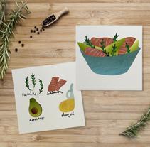 Mediterranean Salads. Un proyecto de Ilustración, Cocina y Diseño gráfico de Ana Rey - 18-11-2014