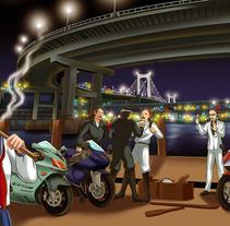 Tokyo Yakuza-Ilustración. A Illustration, and Comic project by Ana y Mercedes Hidalgo  - 30-12-2014