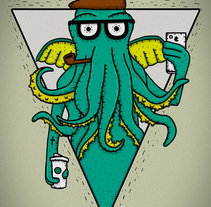 H.P. LOVECRAFT -Hipster Cthulhu. A Illustration, and Character Design project by Arturo Güitrón         - 28.02.2015