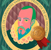 CERVANTES · ILLUSTRATION · STAMP DESIGN. A Design, Illustration, Art Direction, Fine Art, and Graphic Design project by Mapy D.H.         - 12.10.2015