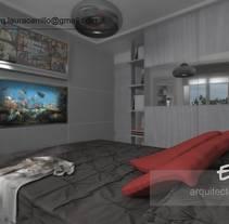 Diseño de habitación en un pequeño espacio 3DStudio + Vray. Un proyecto de Diseño, 3D, Arquitectura, Diseño de muebles, Arquitectura interior y Diseño de interiores de Laura         - 05.05.2015
