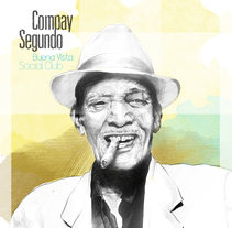 Portada CD musical Compay Segundo. Ilustración. A Illustration project by Pedro Sánchez González         - 25.05.2015