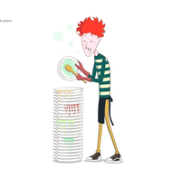 DishwasherBoy. A Character Design, and Graphic Design project by Silvia Bezos García         - 07.01.2014