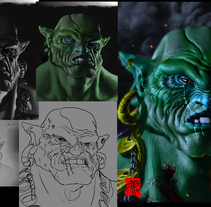 Rendery Turnaround final de mi proyecto Zbrush, Korr-Ga'hal el ORCO!. A Illustration, 3D, Character Design, Fine Art, Sculpture, Comic, and Film project by Borja Puig Linares         - 23.07.2015