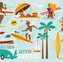 Let´s go surfing. A Illustration, and Character Design project by Raquel Jove - 27-07-2015
