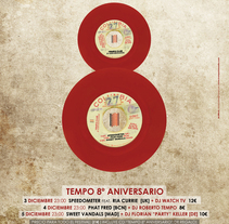 Cartel   |   8º Aniversario Tempo Club . A Graphic Design, Collage, Art Direction, Design, Music, and Audio project by Demian  Abrayas - Sep 04 2015 12:00 AM