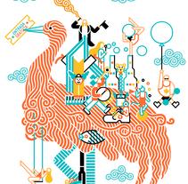Cidade Imaxinaria. Un proyecto de Diseño, Ilustración, Publicidad, Br, ing e Identidad, Eventos, Bellas Artes, Diseño gráfico y Marketing de Carlos Arrojo - Lunes, 20 de julio de 2015 00:00:00 +0200