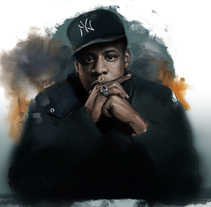 Retrato digital. Jay-Z. Proyecto personal.. A Illustration, and Fine Art project by Naiara Castellanos - 20-11-2015