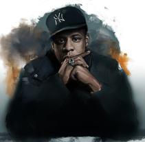 Retrato digital. Jay-Z. Proyecto personal.. Um projeto de Ilustração e Artes plásticas de Naiara Castellanos - 20-11-2015