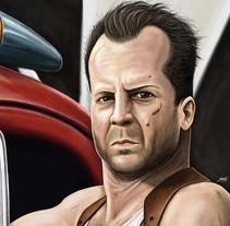 John Mcclane (Bruce Willis). A Illustration, Painting, and Film project by Jorge M. Hernández Alférez         - 09.10.2013