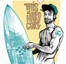 Corazón Kinki - Surfer Boy. A Character Design, Illustration, and Painting project by Fernando Fernández Torres - Feb 29 2016 12:00 AM