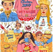 chicken shop/ dirty burger . Um projeto de Design, Direção de arte, Curadoria, Artes plásticas e Culinária de Susana López         - 10.04.2016