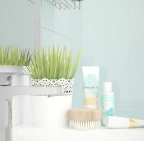 Infografía baño Mint&White. Um projeto de Design, 3D, Arquitetura de interiores e Design de interiores de AnaBelenCorredera         - 21.04.2016