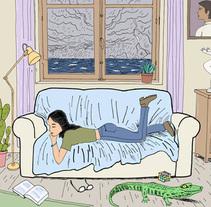 Mujer en el sofa con cocodrilo. Un proyecto de Bellas Artes, Comic e Ilustración de Juan Moreno - Sábado, 23 de abril de 2016 00:00:00 +0200