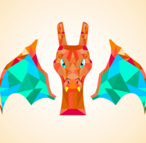 Poly-charizard. A Illustration, Fine Art, and Graphic Design project by Alejandro  Abad - 09-05-2016