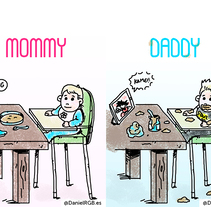 Mommy VS Daddy. A Illustration project by Daniel RGB - 17-05-2016