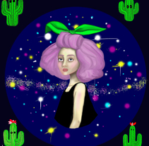 -space-cactus-. A Design, Illustration, Character Design, Fine Art, and Graphic Design project by maria briones ballester         - 04.06.2016