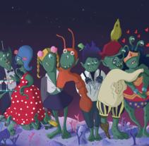 Fiesta de disfraces. Um projeto de Ilustração de Mara Gallego         - 28.08.2016