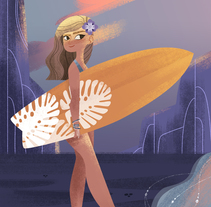 Surfer Girl. A Illustration, Character Design, and Fine Art project by Lydia Sánchez Marco - Sep 26 2016 12:00 AM