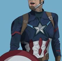 Ilustración digital: Captain America. Un proyecto de Ilustración de Bonaria Staffetta         - 07.10.2016