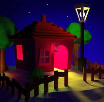 """Nuevo proyecto Diseño Lowpoly en Blender """"Casa Nocturna"""". Un proyecto de 3D, Animación, Diseño de juegos, Diseño gráfico y Diseño de iluminación de Fco Javier  Morón Vázquez - 20-02-2017"""