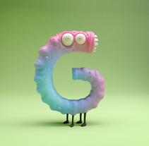 Litlle Monsters - 36days of type Alphabet. Un proyecto de Ilustración, 3D y Diseño de personajes de Albert Carruesco         - 27.04.2017