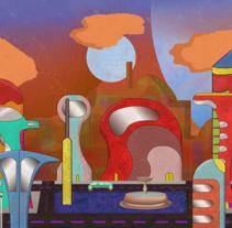 Escenario 2D - proyecto universitario. A Illustration, Animation, and Set Design project by Luis Cortez Castillo         - 26.05.2017
