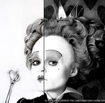 """Retratos_Ciencia ficción """"La Reina de corazones"""" . Un proyecto de Ilustración y Bellas Artes de Patricia García         - 11.06.2017"""