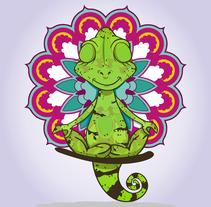 Camaleón yogui. A Vector illustration project by Natalia Seco Domínguez         - 28.09.2017