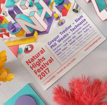 Natural Highs Festival. Un proyecto de Ilustración, 3D, Br, ing e Identidad y Diseño gráfico de Serafim Mendes         - 01.08.2017
