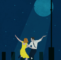 La La Land, city of stars. A Illustration, Graphic Design, Collage, and Vector illustration project by Jokin Fernández         - 20.12.2017