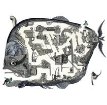 Leviatán libro de Laberintos. Un proyecto de Ilustración, Dirección de arte, Diseño editorial y Collage de Celsius Pictor  - 10-12-2017