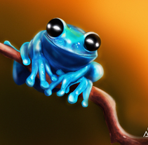Blue frog + Speedpaint. A Illustration project by AdrianArt         - 16.02.2018